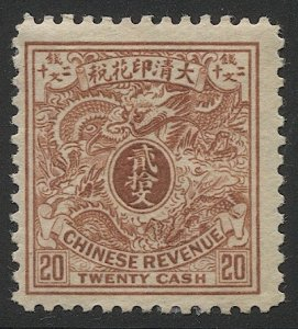 CHINA  Imperial MH 20 cash Dragon Revenue stamp,F-VF