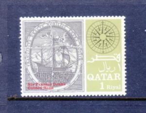 QATAR 126d MNH VF Famous ships - Golden Hind- Sir Francis Drake 2013 SCV $7.50
