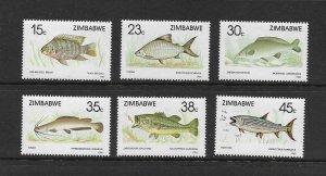 FISH - ZIMBABWE #588-93  MNH
