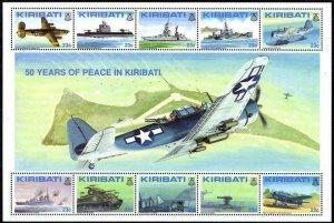 Kiribati 611-612 sheets,MNH.Mi Bl.20-21. WW II,Liberation.Aircraft,Naval ships.