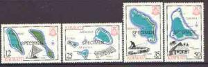 Kiribati 1983 Island Maps #2 set of 4 opt'd SPECIMEN, as ...