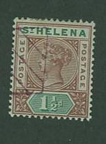 St. Helena SC# 42 Queen Victoria, 1-1/2p, cancelled