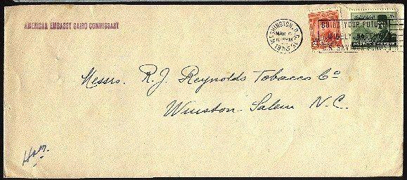 EGYPT USED IN USA 1953 diplomatic mail cover cancelled in Washington.......90052
