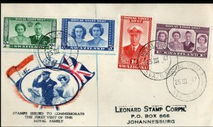1947 Swaziland FDC First Day Cover Royal Visit SHS to Johannesburg
