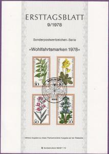 Germany - 1978 - Scott #B553-556 First Day Presentation card