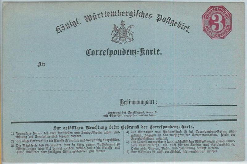 66751 - GERMANY Württemberg - Postal History - POSTAL STATIONERY CARD : P2
