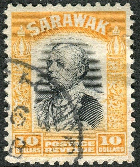SARAWAK-1934-41 $10 Black & Yellow.  A fine used example Sg 125