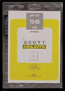 Scott/Prinz Pre-Cut Plate Block, FDC, Postal Card Stamp Mounts 73x63 #913 Clear