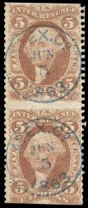 01344 U.S. Revenue Scott R25b 5c Express part perf, pair, blue Adams Express cxl