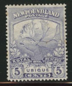 NEWFOUNDLAND Scott 119 MH* 5c  remnant tone spot CV $5.75