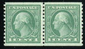 US Stamp Scott# 443  Washington 1914 Coil Pair MH Extra Fine Centering