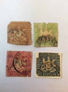 Wurttemberg x4 earlier. Please see photos for condition.6k blue is still on pape
