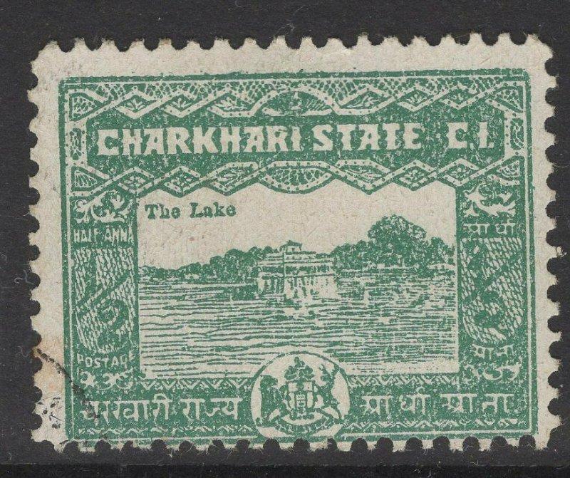 INDIA-CHARKHARI SG45(a) 1931 ½a BLUE-GREEN p11 USED