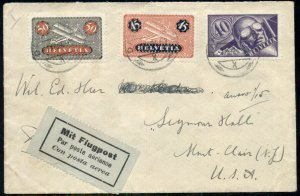 SWITZERLAND 1924 MULTI FRANKED AIRMAIL tied on pretty cover to U.S., VF