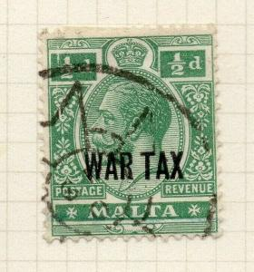 Malta 1917-18 Early Issue Fine Used 1/2d. War Optd 321540
