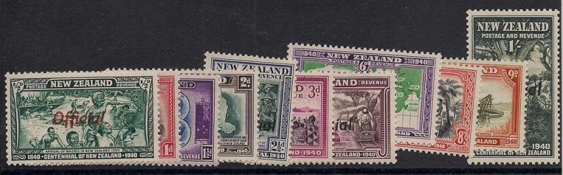 New Zealand Officials #'s O76-O86 - Unused - O.G. - V.F.