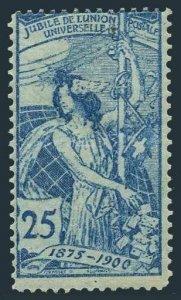 Switzerland 100,lightly hinged.Michel 73. UPU-25,1900.Allegory.Re-engraved.