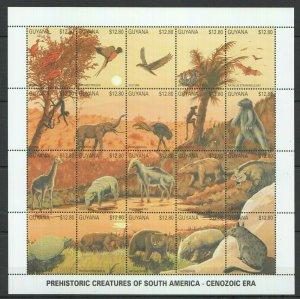 PK192 GUYANA FAUNA PREHISTORIC SOUTH AMERICA CENOZOIC BIG SH MNH STAMPS