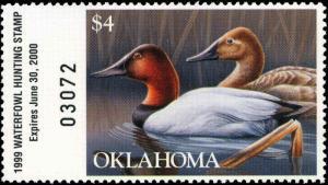 OKLAHOMA #20 1999 STATE DUCK STAMP CANVASBACKS byHoty Smith
