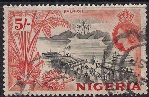 Nigeria 1953 - 58 QE2 5/-d Orange & Black SG 78 ( L985 )