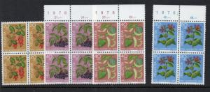 Switzerland Sc B443-46 1976 Plants  Pro Juventute stamp set mint NH Blocks of 4