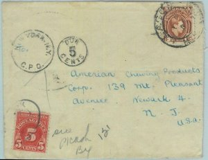 83371 - NIGERIA - POSTAL HISTORY -   COVER to USA 1940's TAXED on ARRIVAL