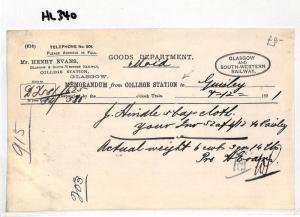 HL340 1891 GB Glasgow & South Western Railway COLLEGE STATION Memo NEW FIND