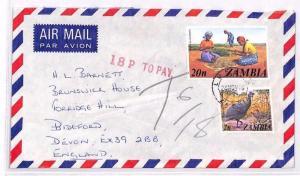 ZAMBIA UNDERPAID AIRMAIL Lusaka GB *18p TO PAY* Handstamp Devon 1976 XX64