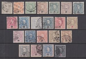 Portugal Sc 110-131 used 1895-1905 King Carlos, cplt set