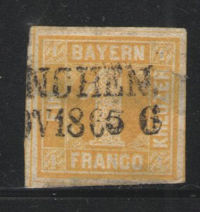 German States - Bavaria 1862 Sc# 9 Used VG - Good used example