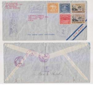 EL SALVADOR 1940 Sc 577-579 & C69 PAIR ON R-AIR COVER TO CINCINNATI, OH USA