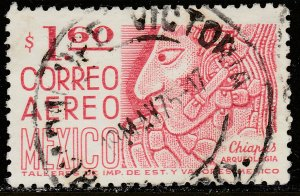 MEXICO C446, $1.60 1950 Def 8th Issue Fosforescent glazed. USED. F-VF. (991)