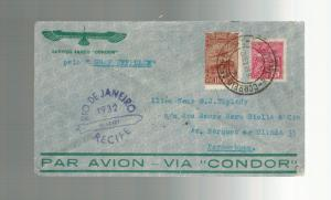 1932 Brazil Graf Zeppelin cover to Pernambuco Condor Syndicate