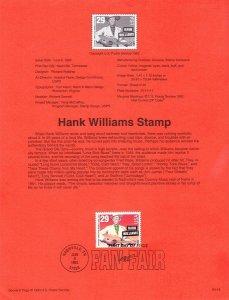 US SP1030A Hank Williams Souvenir Page #2723A (11.2 x 11.5)