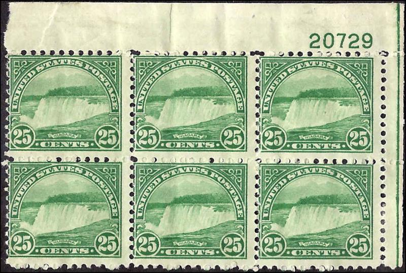 568 Mint,OG,HR... Plate Block of 6... SCV $300.00
