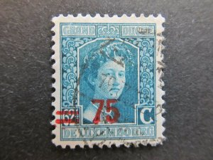 A4P27F103 Letzebuerg Luxembourg 1916-24 surch 75c on 62 1/2c used