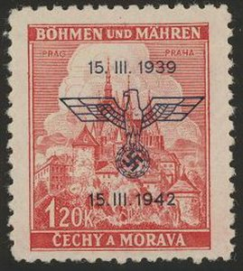Stamp Germany Bohemia Czech Mi 083 Sc 60 1942 WW2 War Era Era Eagle MNH