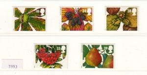 Great Britain Sc 1510-4 1993 Autumn Fruits stamps mint NH