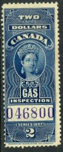 CANADA 1897 QV $2.00 GAS INSPECTION REVENUE VDM. FG27a USED