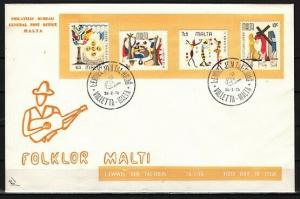 Malta, Scott cat. 505-508. Folklore Festival issue. First day cover.