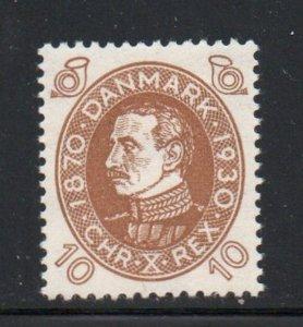 Denmark Sc 213 1930 10 ore Christian X Birthday stamp mint