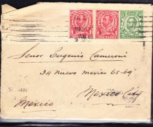 O) 1917 ENGLAND, COVER TO MEXICO NICE COMBINATION, GEORGE V.