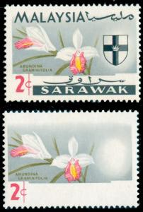 MOMEN: SARAWAK SG#213a 1965 ORCHIDS MINT OG NH ** BLACK OMITTED ERROR **