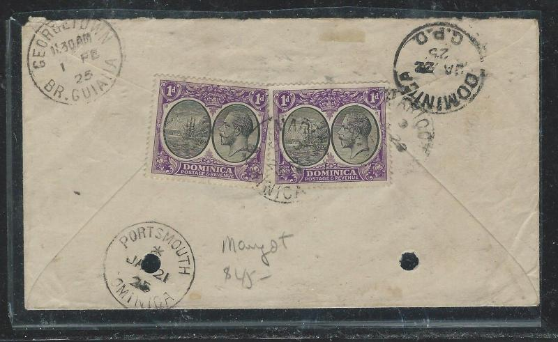 DOMINICA (P0806B) KGV 1925 1DX2 FROM MARIGOT  TO BRITISH GUIANA