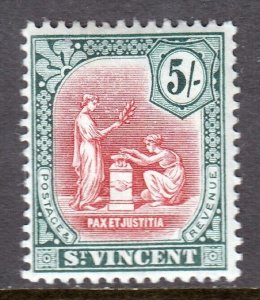 ST. VINCENT — SCOTT 115 (SG 119)— 1913 5/- SEAL OF COLONY — MH — SCV $15