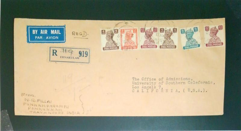 India 1949 Airmail Registered Cover to USA - Z2627
