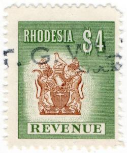 (I.B) Rhodesia Revenue : Duty Stamp $4