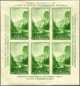 SCOTT#751, 1c NATIONAL PARKS SOUVENIR SHEET OF 6⭐⭐⭐⭐⭐⭐