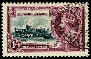 LEEWARD ISLANDS SG91, 1935 Silver Jubilee 1s slate & purple, VFU, CDS. Cat £45.