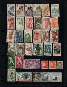 French West Africa  34 diff mint  hinged and used